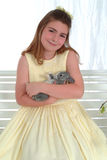 Smiling Girl With Bunny Royalty Free Stock Photos