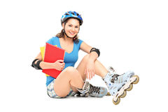 Smiling Girl With Rollers Holding Notebooks Royalty Free Stock Photo