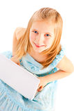 Smiling girl working with computer over white Stock Images