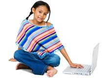 Free Smiling Girl Working On Laptop Stock Images - 8732834