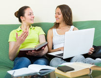 Smiling girlfriends doing homework Royalty Free Stock Photos
