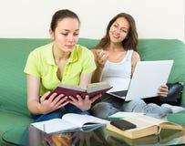 Smiling girlfriends doing homework Royalty Free Stock Image