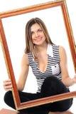 Smiling girls in  a framework  Separately Royalty Free Stock Photos