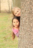 Smiling girls hiding behind tree Royalty Free Stock Image