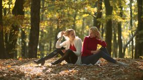 Smiling girls over autumn natural background. Playing in the autumn park. Two girls in autumn park. Girls with phone stock footage