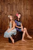 Smiling girls sits on the ancient brown scratched suitcase Royalty Free Stock Images