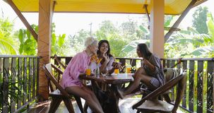 Smiling Girls Using Cell Smart Phones Watching Photos Talking On Terrace In Tropical Forest, Women Group Chatting Online. In Morning Slow Motion 60 stock footage
