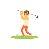 Smiling golf player hitting the ball vector Illustration. Isolated on a white background Stock Photos