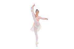 Smiling Gorgeous Ballerina Rising Her Leg Royalty Free Stock Images