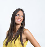 Smiling gorgeous beauty model looking up with copyspace Stock Photography