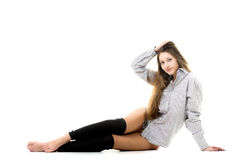 Smiling gorgeous model in shirt and spats Stock Photos