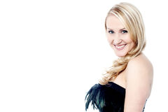 Smiling gorgeous woman in party dress Royalty Free Stock Image