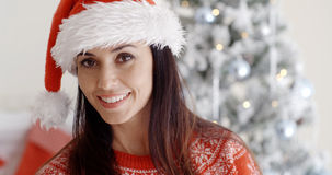 Smiling gorgeous young woman in a Santa hat Royalty Free Stock Image