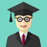 Smiling graduate student flat icon Stock Photos