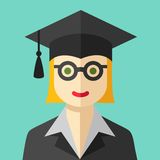 Smiling graduate student flat icon Royalty Free Stock Photography