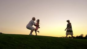 Smiling granddaughter running to grandfather outdoors. stock video footage