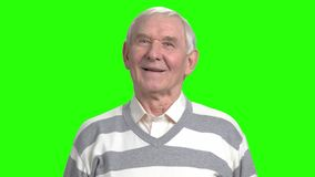 Smiling grandfather facial expressions motion. Portrait of grandpa looking at the camera, green hromakey background for keying stock video