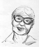 Smiling grandma pencil sketch. Hand drawn pencil sketch of a happy elderly woman wearing fancy glasses Stock Image