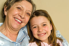 Smiling grandmother and granddaughter Royalty Free Stock Photos