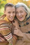 Smiling grandmother with grandson. Close up portrait of smiling grandmother with grandson Royalty Free Stock Images