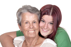 Smiling grandmother and her granddaughter Stock Image