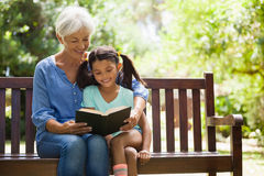 Smiling grandmother reading novel to granddaughter sitting on wooden bench royalty free stock photo