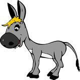 Smiling gray baby donkey girl with yellow bangs Royalty Free Stock Photos