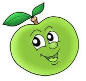Smiling green apple. Color illustration Stock Images