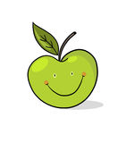 Apple illustration; Smiling green apple drawing Royalty Free Stock Photos