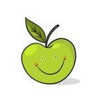 Apple cartoon; Smiling green apple illustration Royalty Free Stock Photos