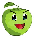 Smiling green apple - manga style - isolated Royalty Free Stock Image