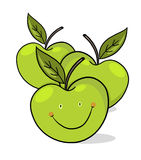 Smiling green apples illustration Royalty Free Stock Photography