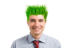 Smiling green businessman stock image