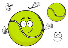Smiling green cartoon tennis ball Royalty Free Stock Image