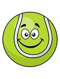Smiling green cartoon tennis ball Stock Photo