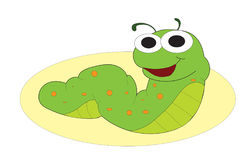 Smiling green caterpillar. Colorful green caterpillar with orange spots with smiling happy face Stock Photos