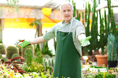Smiling green house employee Royalty Free Stock Photo