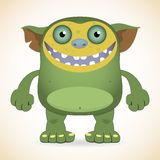 Smiling green monster. Cartoon funny smiling green monster Stock Images