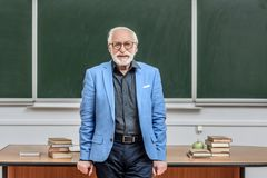 Smiling grey hair professor standing in lecture room and looking. At camera stock images
