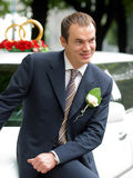 Smiling Groom on wedding Car limousine Stock Photography