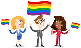 Smiling group of cartoon business people waving rainbow LGBT flag celebrating gay pride. Isolated on white background Royalty Free Stock Photos