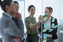 Group of executives discussing over sticky notes on the wall at office. Smiling group of executives discussing over sticky notes on the wall at office royalty free stock image