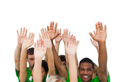 Smiling group of people raising arms Royalty Free Stock Images