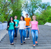 Smiling group of teenagers walking outdoors Royalty Free Stock Images