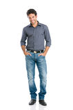Smiling guy full length. Full length portrait of happy handsome young man isolated on white background royalty free stock images