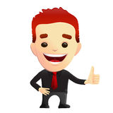 Smiling Guy giving Thumbs Up Approval. Smiling vector businessman in a black shirt giving thumbs up for approval. Might be used as a corporate mascot character royalty free illustration