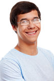 Smiling guy in glasses closeup Royalty Free Stock Photos