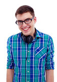 Smiling guy with headphones on neck Royalty Free Stock Photo