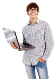 Smiling guy with laptop Royalty Free Stock Photo