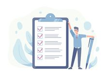 Smiling guy standing beside giant check list and holding pen. Concept of successful goal achievement, productive daily. Planning and task management. Colorful vector illustration